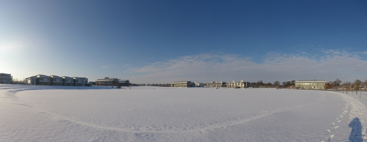 Pan in the snow